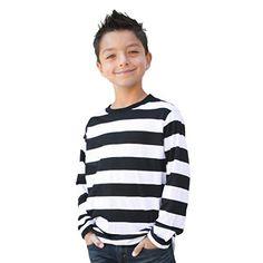 Childrens Little Horror Pugsley Addams Family Son Costume Halloween Stripe