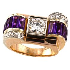 French Retro Amethyst Diamond Gold Ring | From a unique collection of vintage cocktail rings at https://www.1stdibs.com/jewelry/rings/cocktail-rings/