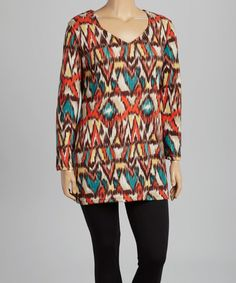 Look at this #zulilyfind! Brown & Red Tribal V-Neck Sweater Tunic - Plus #zulilyfinds