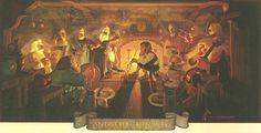 """JRR Tolkien Calendar - 1978 - Illustrations by the brothers Hilderbrandt // """"An unexpected party"""""""