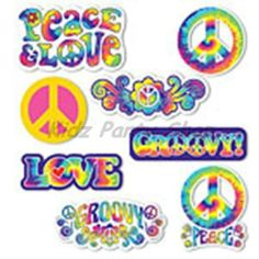 60's Feeling Groovy Tye Party - 30 Card Cutout Decorations - Free Postage UK | eBay