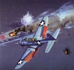 SBD Attacking Japanese aircraft carrier during battle of midway.