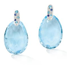 blue topaz earrings with sapphires and diamonds....