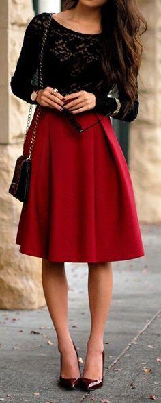 Long Sleeve Lace Shirt,Red Skirt,Black Purse&Reddish Black High Heels