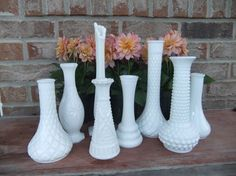 Set of 8 White Milk Glass Vases, Vintage Instant Collection lot, shabby chic wedding home decor, Mantle or table centerpiece