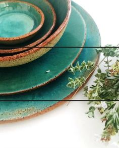 Handmade Pottery Plates and Bowls Dinnerware Set, Rustic Modern Ceramics 5-piece Place Setting in Turquoise, Green and Light Blue Shop today 👍 Stoneware Dinnerware, Dinnerware Sets, Handmade Home Decor, Handmade Pottery, Rustic Plates, Pottery Plates, Plates And Bowls, Modern Ceramics, Place Setting