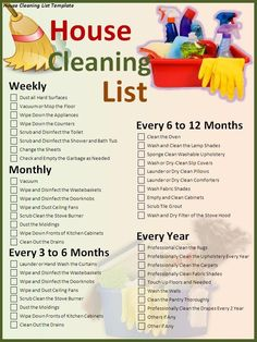 Not sure where I found this list but I swear by it. I do one chore a day from the weekly list and use Saturday to finish the rest or catch up on what I missed. I sub in the monthly list the first week of the month and the other lists through out the year. My house is always spic and span!! Put this in your life :)