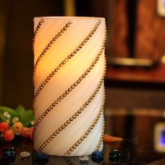 Home Impression Embossed Gold Pearl Flameless Electronic Wax Candle with Timer | eBay