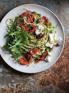 fresh tomato, kale and caperberry pasta