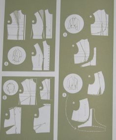 Illustrations showing how to alter a standard bodice pattern to create several interesting bodices