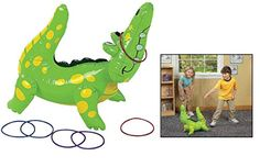 Fun Express Inflatable Alligator Ring Toss Game, Vinyl: Vinyl Inflatable Alligator Ring Toss Game includes a 22 inflatable alligator and six 5 assorted plastic rings. Great for pool parties. Great for any party! Alligator Party, Reptile Party, Party Like Its 1999, Preschool Games, Activities, Fun Express, Ring Toss, Toss Game, Cute Games