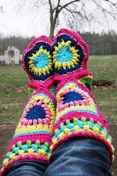 My granny Square Crocheted Boots:  Link to my variations on this free pattern (there is a link to that free pattern as well) :)