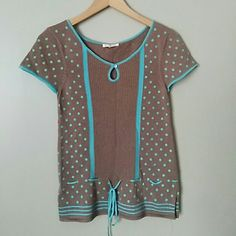 Urban outfitters polka dot short sleeve top Light sweater material. Size small. Keyhole detail in the front. NWT. Brown with aqua/light blue details. Urban Outfitters Tops