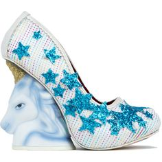 Irregular Choice Eternal Friend Unicorn White Multi Wedge Heels ($137) ❤ liked on Polyvore featuring shoes, heels, wedges, white multi, python shoes, wedges shoes, star shoes, hidden platform shoes and snakeskin shoes