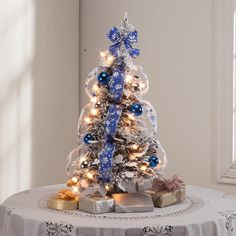 this 2 ft frosted winter style pull up tree by northwoods arrives - Pull Up Fully Decorated Christmas Tree