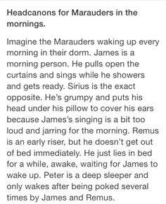 I've always seen James as a morning person, and making quidditch practices at six A.M., so that 'no other team would see their strategies'