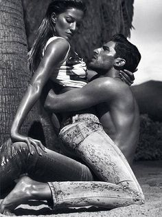 Provocative - Spring/Summer 2012 Versace Jeans Company.    Gisele Bundchen  Ryan Barrett shot by  photographers Mert Alas and Marcus Piggott. Location of shooting is in the Sonoran desert of Borrego Springs, California