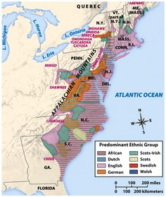 Ethnic map of the Thirteen Colonies. Related: Religions of the Thirteen Colonies History Class, Us History, History Facts, Family History, American History, History Education, Teaching History, American War, Early American