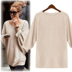 Fashion Lady Women's O-neck Batwing Sleeve Loose Tops Pullover Sweater