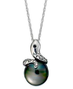 Pearl Necklace, Sterling Silver Cultured Tahitian Pearl Snake Pendant (12mm) - Sale & Clearance - Jewelry & Watches - Macy's