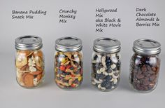 snack mix 4 kinds labeled as Gifts in a Mason Jar idea. Looks super easy, fun and doable for the kids to give as usable Homemade gifts. Uses For Mason Jars, Mason Jar Meals, Mason Jar Gifts, Meals In A Jar, Gift Jars, Canning Jars, Snack Mix Recipes, Snack Mixes, Jar Recipes