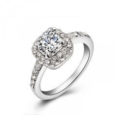 Gorgeous White Gold Plated Austrian Cubic Zirconia Diamond Ring For Women Gifts
