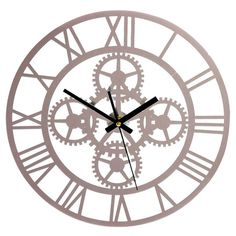 Metal wall clock with a gears motif.  Product: Wall clockConstruction Material: Metal and mirrored glass