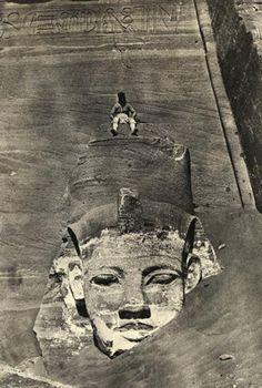 """whileiamdying: """"This photograph of a man in a headdress sitting atop a blank-eyed statue was taken at Abu Simbel during Du Camp's special mission to document certain sites in Egypt and the near East. Ancient Egyptian Art, Ancient Aliens, Ancient History, Art History, Statue Art, Objets Antiques, Kairo, Empire Romain, Templer"""