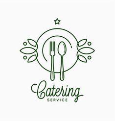 Catering linear logo with plate and fork on white vector Monogram Logo, Monogram Letters, Rose Apple Fruit, Ice Cream Logo, Catering Design, Apple Vector, Fruit Logo, Corporate Id, Butterfly Logo