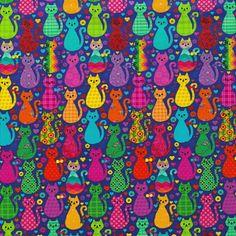 Tecido Estampado para Patchwork - Renata Blanco Cats (0,50x1,40) no Bazar Horizonte