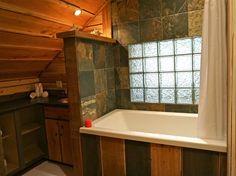 Rustic luxury bathroom at Logden Lodge Bathtub, Relax, Cabin, Rustic, Bathroom, Luxury, Home, Design, Standing Bath