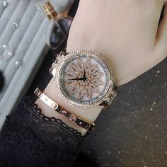 Watches Women Rotation time to bring luck Quartz-Watch Stainless steel luxurious Ladies Watch Full Diamond Fashion Supernatural Style Modern Watches, Stylish Watches, Luxury Watches, Fashion Accessories, Fashion Jewelry, Women Jewelry, Beautiful Watches, All About Fashion, Cute Jewelry
