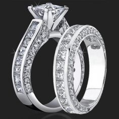 Jewelers Impressive Princess Cut Engagement Rings with Well Over 3 Carats of Diamonds (3.68 ctw) – bbr411-411b | Unique Engagement Rings, Flower Rings, Vintage & Antique Engagement Rings
