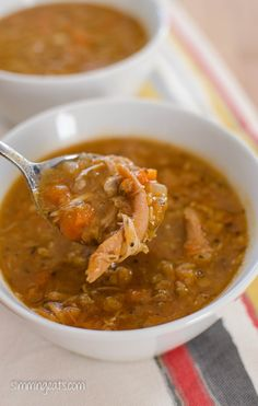 This recipe is gluten free, dairy free, Slimming World (SP) and Weight Watchers friendly Slimming Eats Recipe Extra Easy – Syn Free per serving SP – Syn free per serving Chicken and Lentil Soup Print Serves 4 Author: Slimming Eats Ingredients for the so Slimming Eats, Slimming Recipes, Slimming World Recipes Extra Easy, Chicken Lentil Soup, Roast Chicken, Chicken Carcass Soup, Healthy Chicken Soup, Lentil Stew, Cooking Recipes