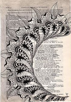 LOVE zentangles on book pages! absense | Flickr - Photo Sharing!