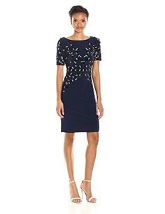 b37d3712630 online shopping for Adrianna Papell Women s Short Sleeve Jersey Beaded  Cocktail Dress from top store. See new offer for Adrianna Papell Women s  Short Sleeve ...