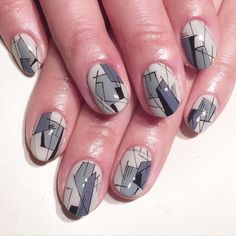 Light grey geometrical nail art :: one1lady.com :: #nail #nails #nailart #manicure