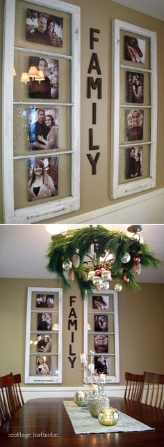 Have some old windows sitting in the garage that are classified as junk? Well think again. This really neat tutorial shows you how you can turn your junk into some very creative home decor. Old windows to display family photos who would have thought? Easy Home Decor, Farmhouse Decor, Decor, Diy Decor, Diy Home Decor, Home Diy, Decor Guide, Display Family Photos, Home Decor