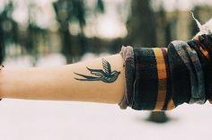 tatto, girl, bird