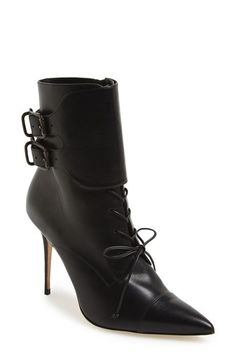Free shipping and returns on Manolo Blahnik 'Secunda' Bootie (Women) at Nordstrom.com. A double-buckle ankle cuff and lace-up styling bring signature sophistication to a striking pointy-toe bootie set on a slim stiletto heel.