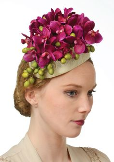 Original Showstopper Headpiece by Blossom Millinery. Pretty, purple, yellow, magenta, pink, green, buds, flowers, floral, fascinator, accessory, races.