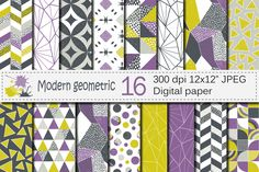 Seamless Modern Geometric Digital Paper / Geometric Patterns / Modern Backgrounds - Purple Lime Gray