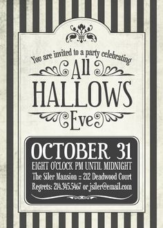 PRINTABLE Spooky Halloween Party Invitation or by chachkedesigns