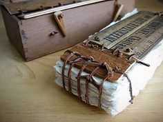 vintiquities muse, sadly just a picture, the combination of paper, leather and old wooden rulers looks pretty amazing Journal Covers, Book Journal, Art Journals, Handmade Journals, Handmade Books, Paper Book, Paper Art, Book Art, Book Libros