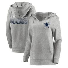 Let Loose by RNL Dallas Cowboys Women s Ash Team Logo Fleece Tri-Blend  Pullover Hoodie 28c4161d1