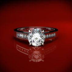 11140 - Channel Set Princess Cut Engagement Ring