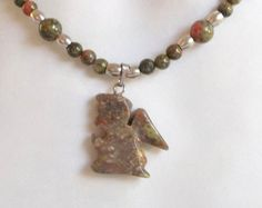 Autum Jasper Angel Necklace by ShadowoftheCross on Etsy
