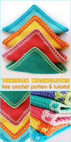 Tunisian Washcloths [Free Crochet Pattern and Tutorial]