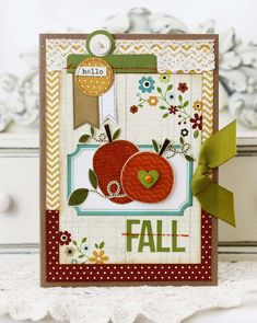 Harvest Lane paper by Simple Stories - cute card!  Could use for scrapbook layout!