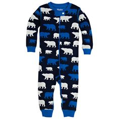 Buy Hatley Polar Bear Print Footless Sleepsuit, Navy | John Lewis